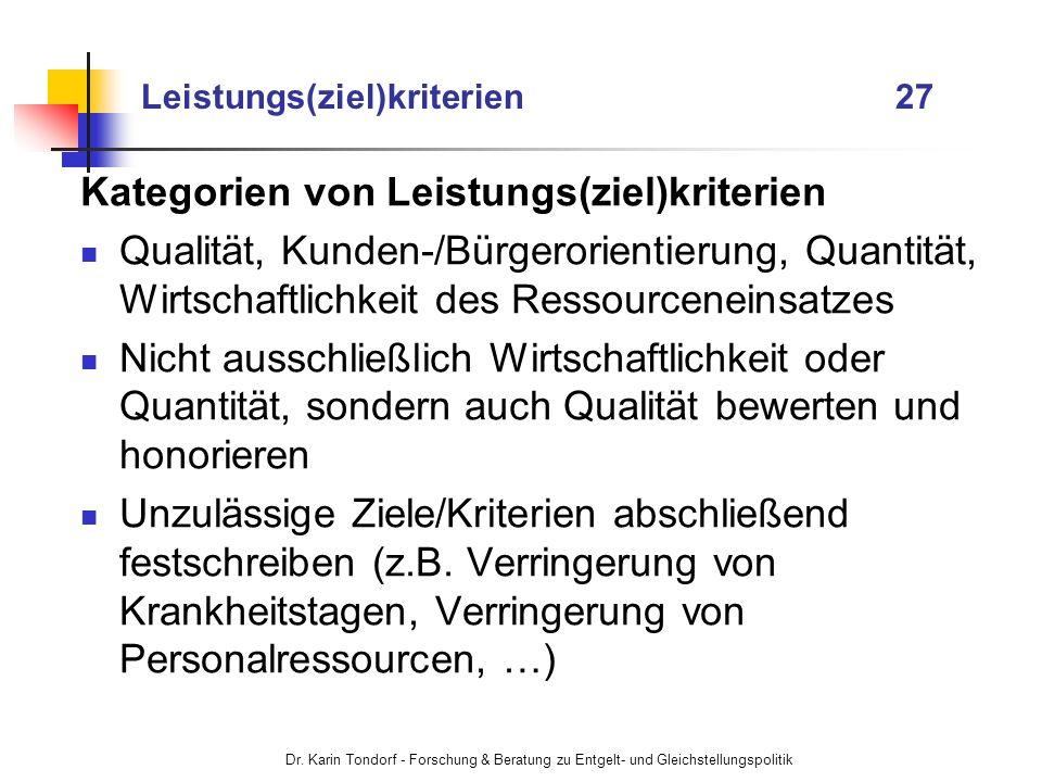 Dr. Karin Tondorf - Forschung & Beratung zu Entgelt- und Gleichstellungspolitik Leistungs(ziel)kriterien 27 Kategorien von Leistungs(ziel)kriterien Qu