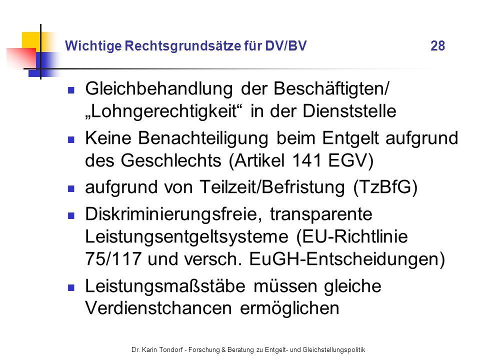 Dr. Karin Tondorf - Forschung & Beratung zu Entgelt- und Gleichstellungspolitik Wichtige Rechtsgrundsätze für DV/BV 28 Gleichbehandlung der Beschäftig