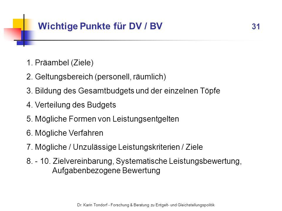 Dr. Karin Tondorf - Forschung & Beratung zu Entgelt- und Gleichstellungspolitik Wichtige Punkte für DV / BV 31 1. Präambel (Ziele) 2. Geltungsbereich