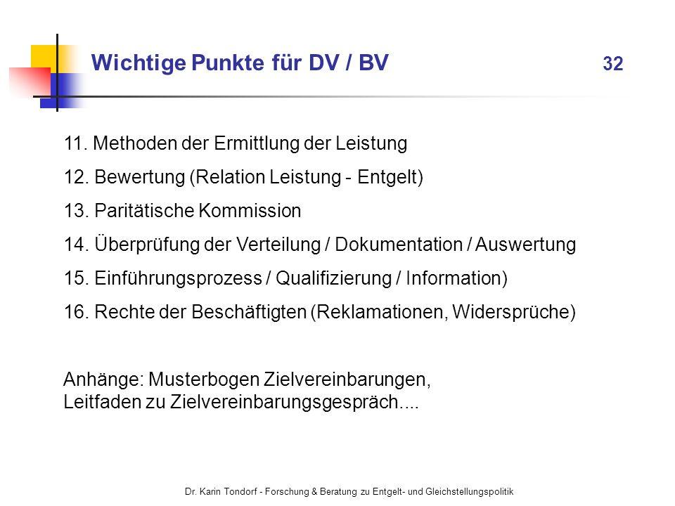 Dr. Karin Tondorf - Forschung & Beratung zu Entgelt- und Gleichstellungspolitik 11. Methoden der Ermittlung der Leistung 12. Bewertung (Relation Leist