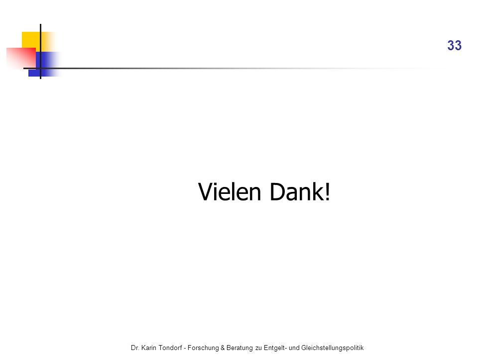 Dr. Karin Tondorf - Forschung & Beratung zu Entgelt- und Gleichstellungspolitik 33 Vielen Dank!