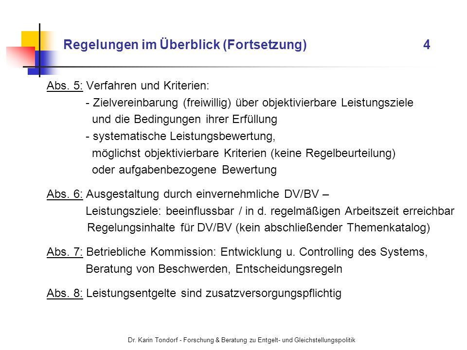 Dr. Karin Tondorf - Forschung & Beratung zu Entgelt- und Gleichstellungspolitik Regelungen im Überblick (Fortsetzung) 4 Abs. 5: Verfahren und Kriterie