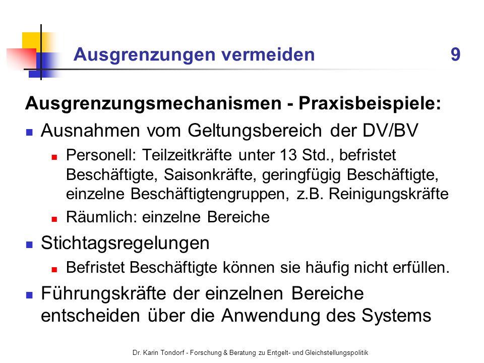 Dr. Karin Tondorf - Forschung & Beratung zu Entgelt- und Gleichstellungspolitik Ausgrenzungen vermeiden 9 Ausgrenzungsmechanismen - Praxisbeispiele: A