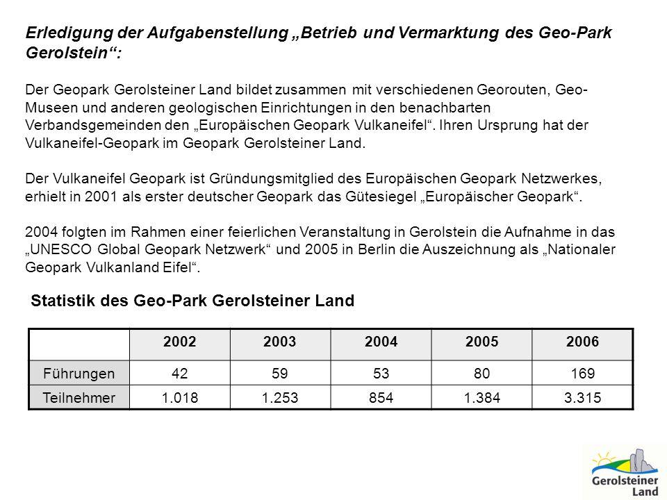 Erledigung der Aufgabenstellung Betrieb und Vermarktung des Geo-Park Gerolstein: Der Geopark Gerolsteiner Land bildet zusammen mit verschiedenen Georo