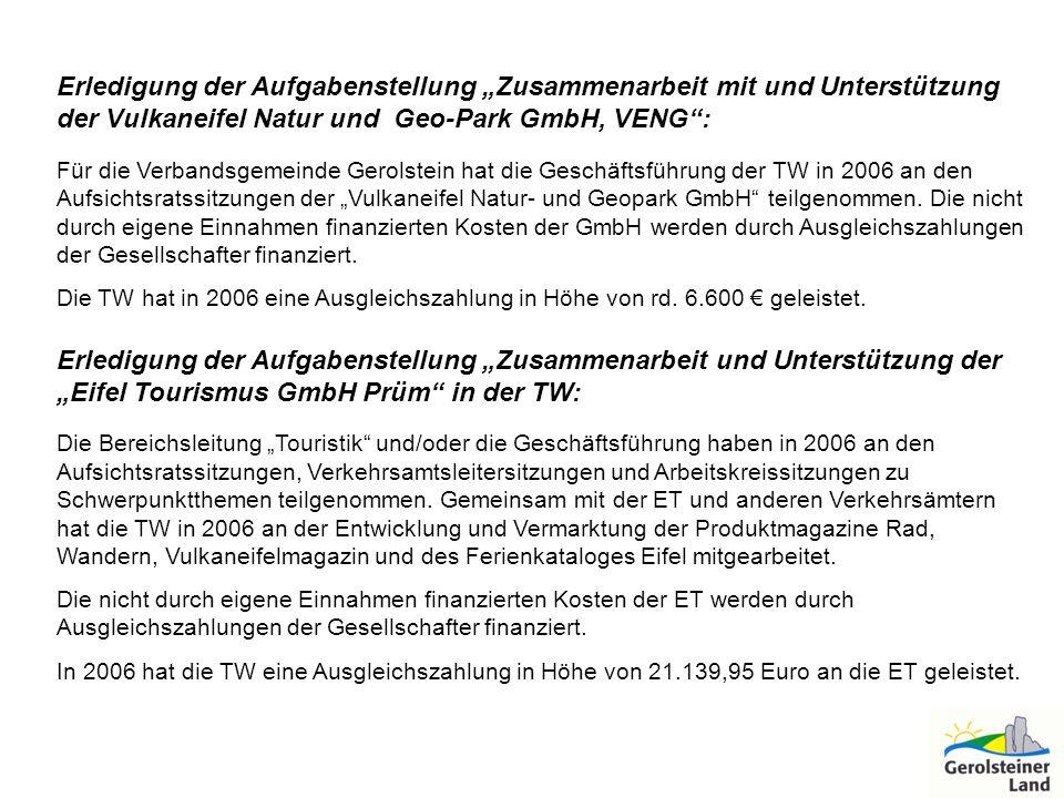 Erledigung der Aufgabenstellung Zusammenarbeit mit und Unterstützung der Vulkaneifel Natur und Geo-Park GmbH, VENG: Für die Verbandsgemeinde Gerolstei