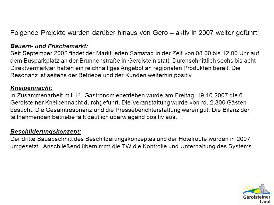 Folgende Projekte wurden darüber hinaus von Gero – aktiv in 2007 weiter geführt: Bauern- und Frischemarkt: Seit September 2002 findet der Markt jeden