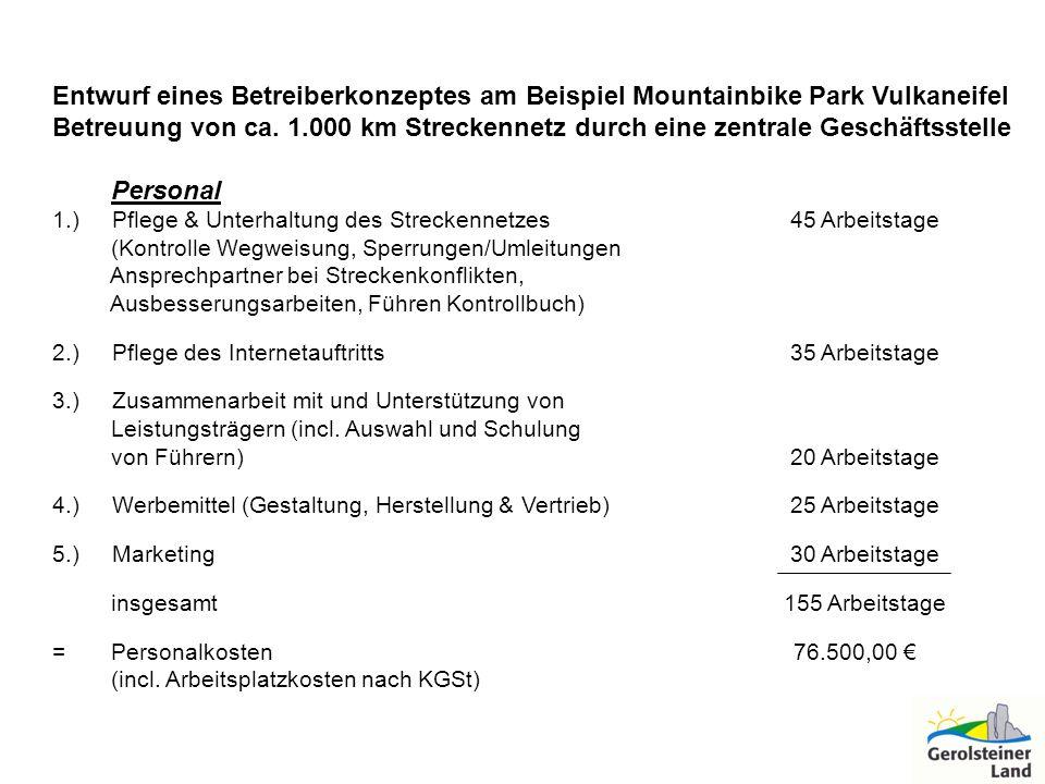 Entwurf eines Betreiberkonzeptes am Beispiel Mountainbike Park Vulkaneifel Betreuung von ca. 1.000 km Streckennetz durch eine zentrale Geschäftsstelle