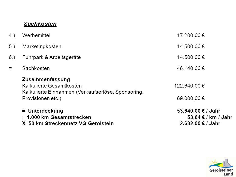 Sachkosten 4.) Werbemittel 17.200,00 5.) Marketingkosten 14.500,00 6.) Fuhrpark & Arbeitsgeräte 14.500,00 = Sachkosten 46.140,00 Zusammenfassung Kalku