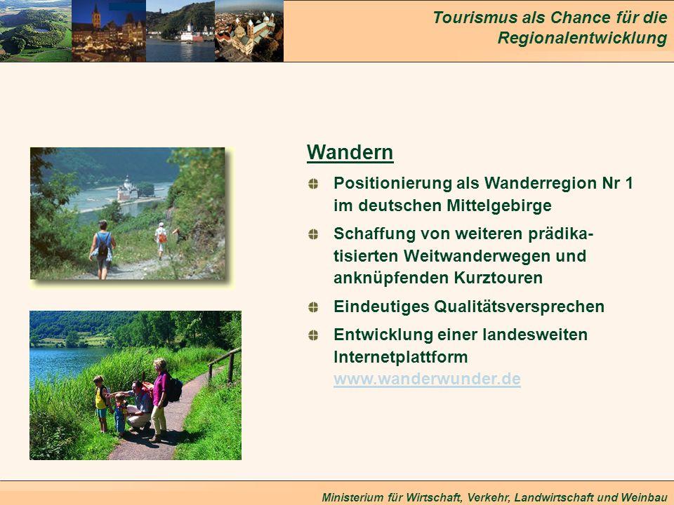 Tourismus als Chance für die Regionalentwicklung Ministerium für Wirtschaft, Verkehr, Landwirtschaft und Weinbau Wandern Positionierung als Wanderregi