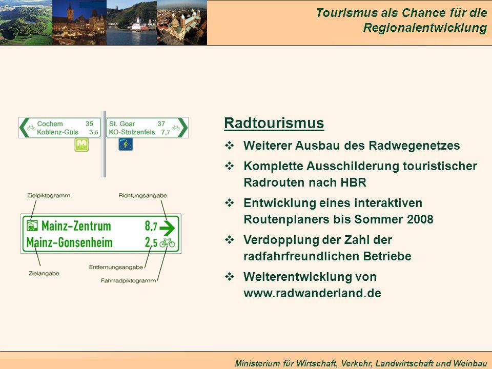 Tourismus als Chance für die Regionalentwicklung Ministerium für Wirtschaft, Verkehr, Landwirtschaft und Weinbau Radtourismus Weiterer Ausbau des Radw