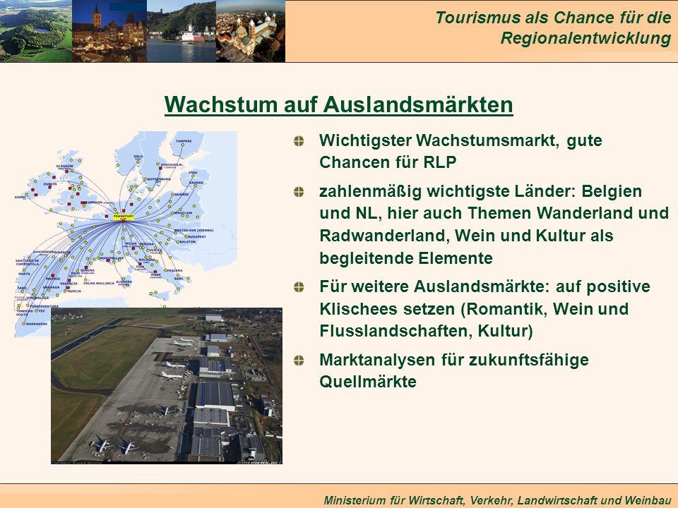 Tourismus als Chance für die Regionalentwicklung Ministerium für Wirtschaft, Verkehr, Landwirtschaft und Weinbau Wachstum auf Auslandsmärkten Wichtigs