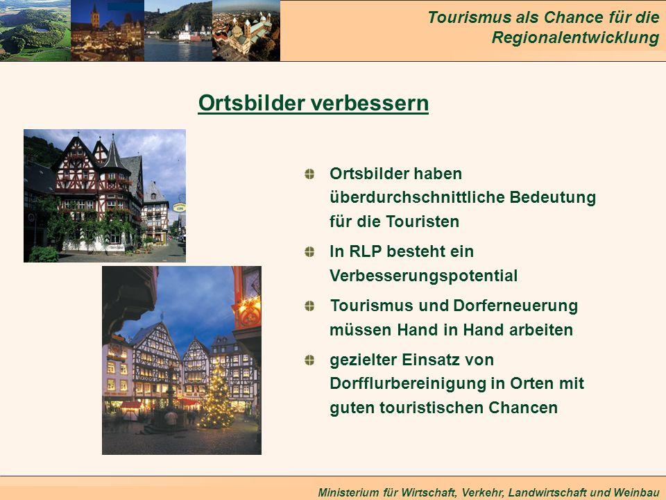 Tourismus als Chance für die Regionalentwicklung Ministerium für Wirtschaft, Verkehr, Landwirtschaft und Weinbau Ortsbilder verbessern Ortsbilder habe