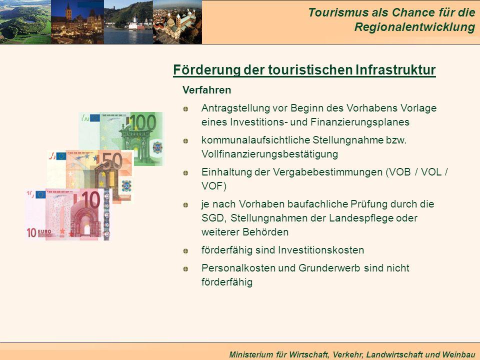 Tourismus als Chance für die Regionalentwicklung Ministerium für Wirtschaft, Verkehr, Landwirtschaft und Weinbau Förderung der touristischen Infrastru