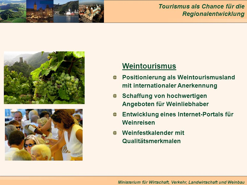 Tourismus als Chance für die Regionalentwicklung Ministerium für Wirtschaft, Verkehr, Landwirtschaft und Weinbau Weintourismus Positionierung als Wein
