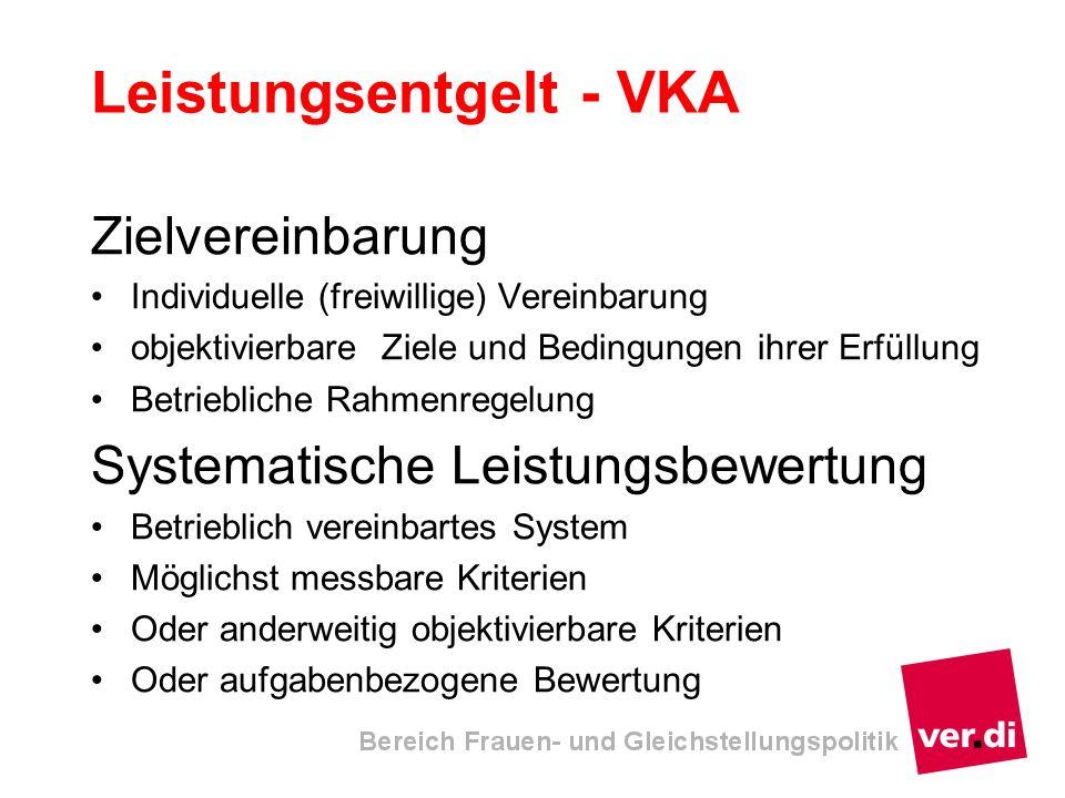 Leistungsentgelt - VKA Zielvereinbarung Individuelle (freiwillige) Vereinbarung objektivierbare Ziele und Bedingungen ihrer Erfüllung Betriebliche Rah
