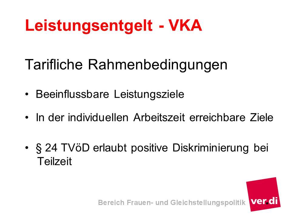 Leistungsentgelt - VKA Tarifliche Rahmenbedingungen Beeinflussbare Leistungsziele In der individuellen Arbeitszeit erreichbare Ziele § 24 TVöD erlaubt