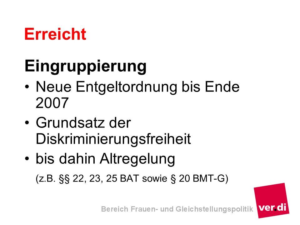Erreicht Eingruppierung Neue Entgeltordnung bis Ende 2007 Grundsatz der Diskriminierungsfreiheit bis dahin Altregelung (z.B. §§ 22, 23, 25 BAT sowie §