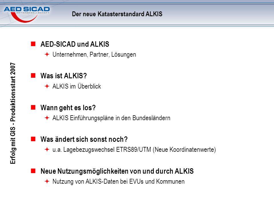 Erfolg mit GIS - Produktionsstart 2007 Der neue Katasterstandard ALKIS AED-SICAD und ALKIS Unternehmen, Partner, Lösungen Was ist ALKIS? ALKIS im Über