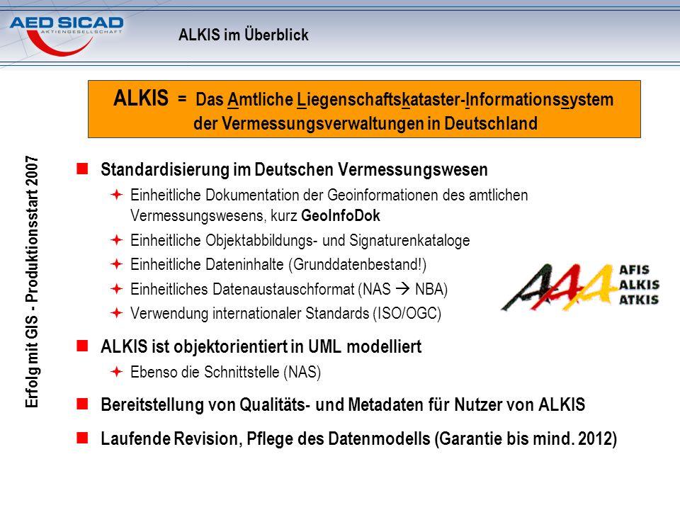 Erfolg mit GIS - Produktionsstart 2007 ALKIS im Überblick Standardisierung im Deutschen Vermessungswesen Einheitliche Dokumentation der Geoinformation