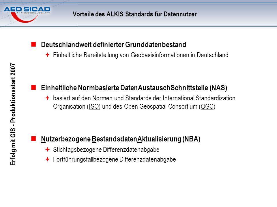 Erfolg mit GIS - Produktionsstart 2007 Vorteile des ALKIS Standards für Datennutzer Deutschlandweit definierter Grunddatenbestand Einheitliche Bereits