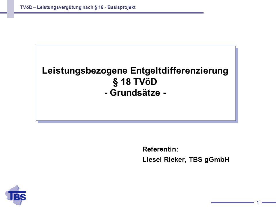TVöD – Leistungsvergütung nach § 18 - Basisprojekt 12 Die betriebliche Kommission (2) Der Arbeitgeber entscheidet auf Vorschlag der betrieblichen Kommission, ob und in welchem Umfang der Beschwerde im Einzelfall abgeholfen wird Folgt der Arbeitgeber dem Vorschlag der Kommission nicht, muß er seine Gründe darlegen