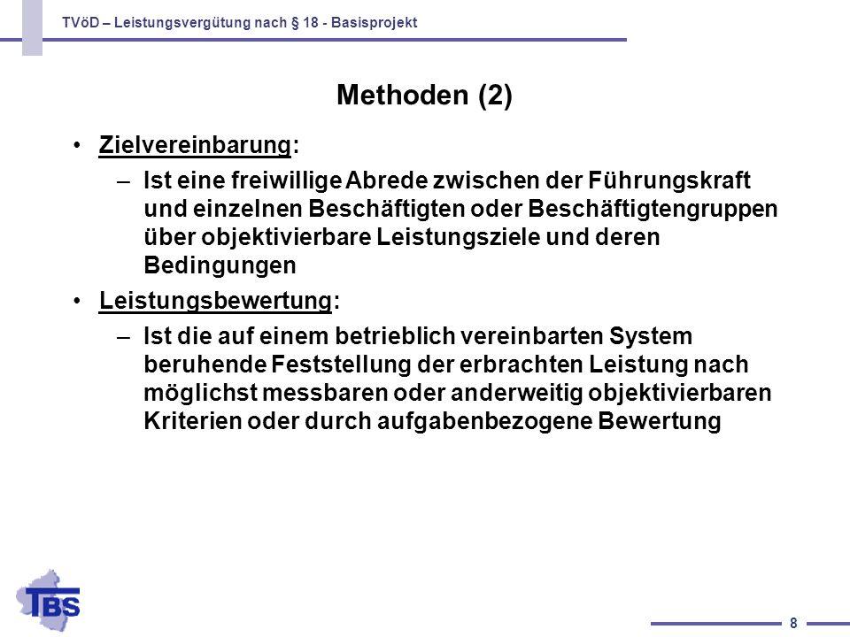 TVöD – Leistungsvergütung nach § 18 - Basisprojekt 8 Zielvereinbarung: –Ist eine freiwillige Abrede zwischen der Führungskraft und einzelnen Beschäfti