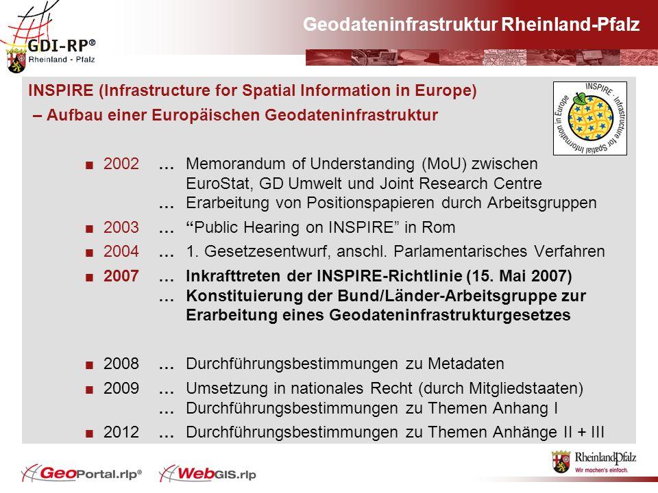 Geodateninfrastruktur Rheinland-Pfalz INSPIRE (Infrastructure for Spatial Information in Europe) – Aufbau einer Europäischen Geodateninfrastruktur 200