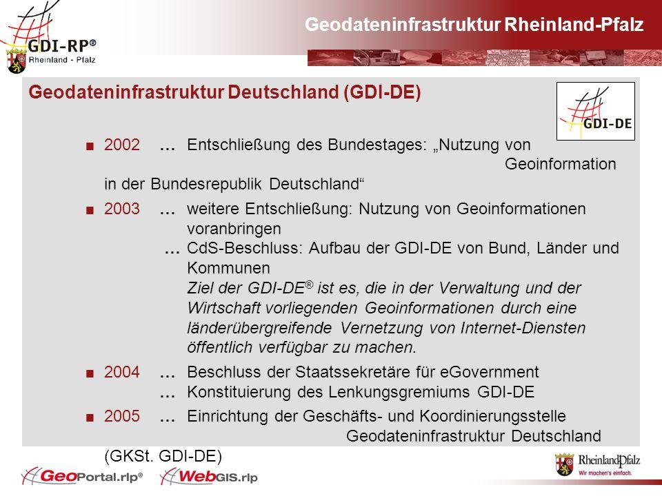 Geodateninfrastruktur Rheinland-Pfalz Geodateninfrastruktur Deutschland (GDI-DE) 2002… Entschließung des Bundestages: Nutzung von Geoinformation in de