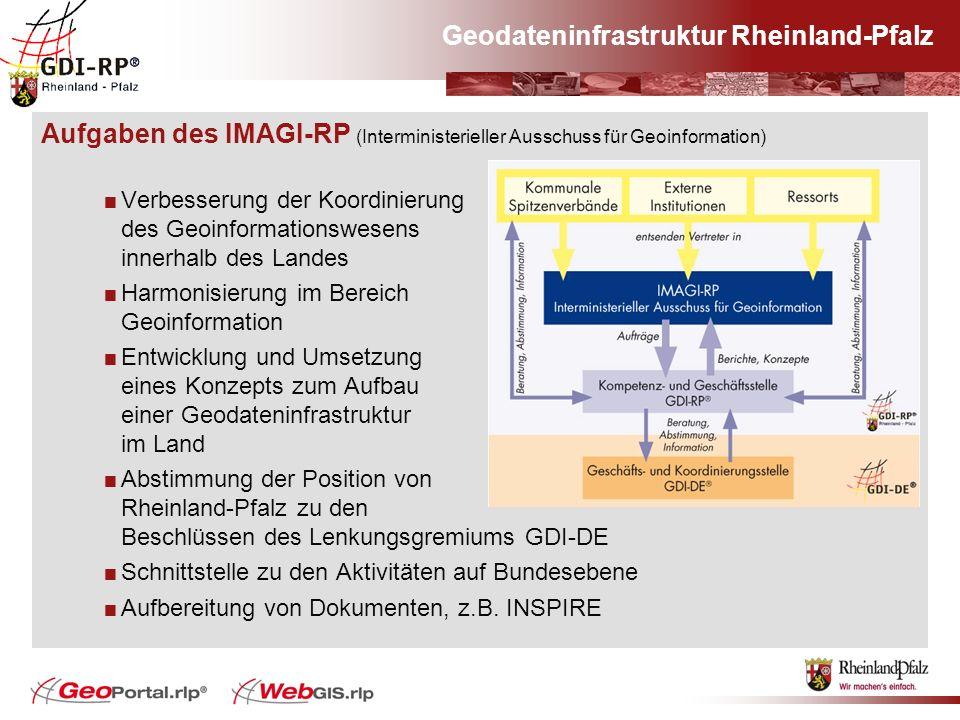 Geodateninfrastruktur Rheinland-Pfalz Aufgaben des IMAGI-RP (Interministerieller Ausschuss für Geoinformation) Verbesserung der Koordinierung des Geoi