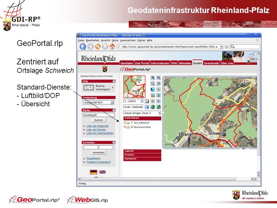 Geodateninfrastruktur Rheinland-Pfalz GeoPortal.rlp Zentriert auf Ortslage Schweich Standard-Dienste: - Luftbild/DOP - Übersicht