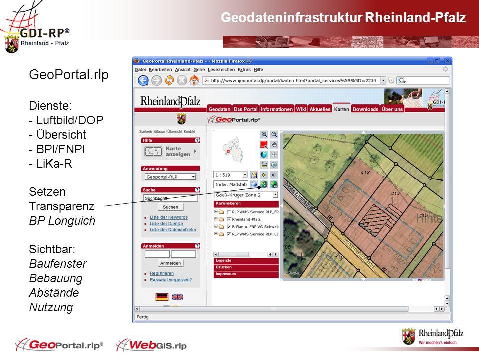 Geodateninfrastruktur Rheinland-Pfalz GeoPortal.rlp Dienste: - Luftbild/DOP - Übersicht - BPl/FNPl - LiKa-R Setzen Transparenz BP Longuich Sichtbar: B
