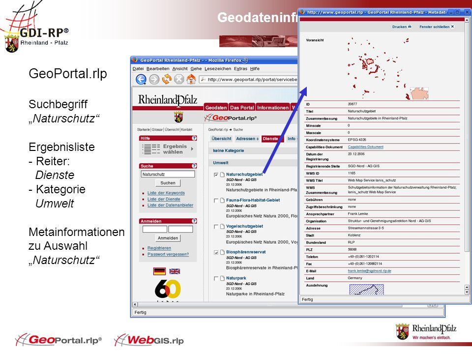 Geodateninfrastruktur Rheinland-Pfalz GeoPortal.rlp SuchbegriffNaturschutz Ergebnisliste - Reiter: Dienste - Kategorie Umwelt Metainformationen zu Aus