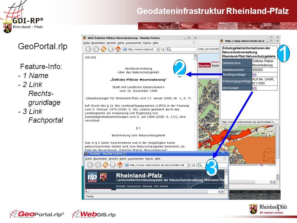 Geodateninfrastruktur Rheinland-Pfalz GeoPortal.rlp Feature-Info: - 1 Name - 2 Link Rechts- grundlage - 3 Link Fachportal 1 2 2 3