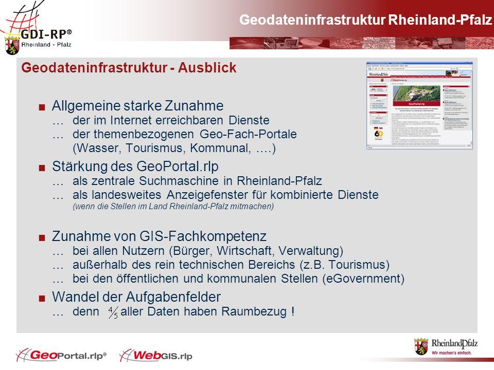 Geodateninfrastruktur - Ausblick Allgemeine starke Zunahme … der im Internet erreichbaren Dienste … der themenbezogenen Geo-Fach-Portale (Wasser, Tour