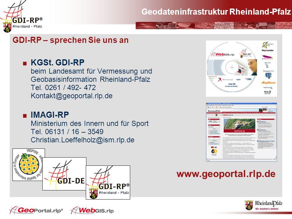 GDI-RP – sprechen Sie uns an KGSt. GDI-RP beim Landesamt für Vermessung und Geobasisinformation Rheinland-Pfalz Tel. 0261 / 492- 472 Kontakt@geoportal