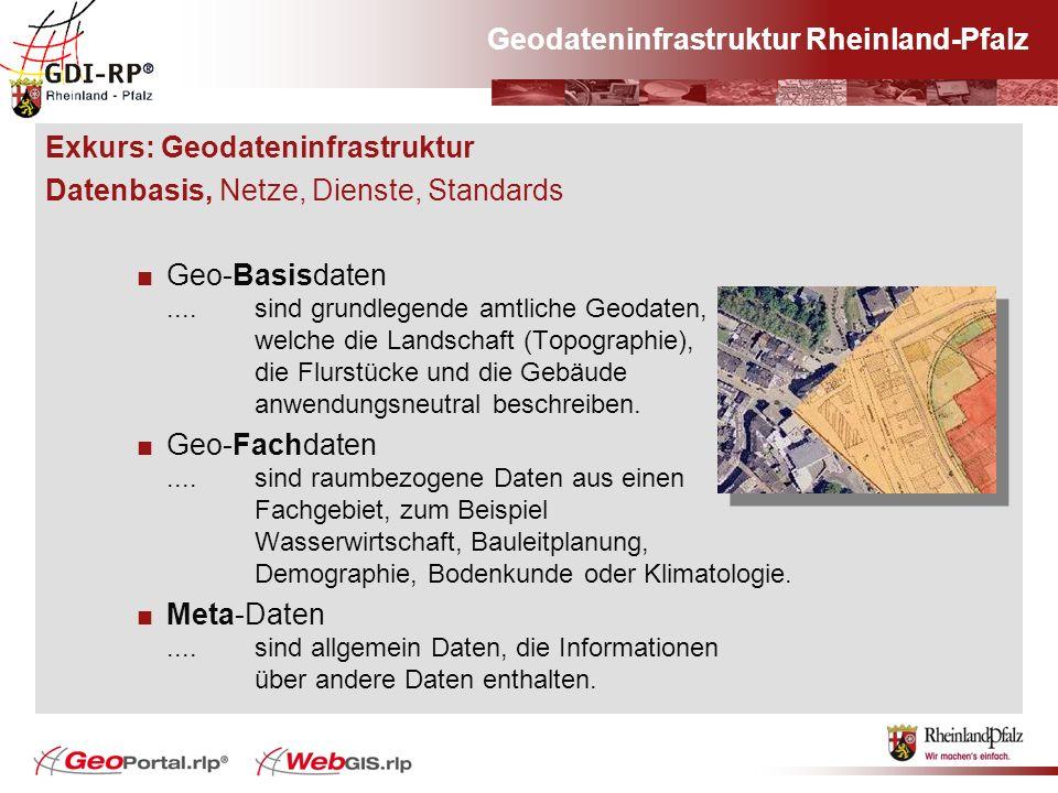 Geodateninfrastruktur Rheinland-Pfalz Exkurs: Geodateninfrastruktur Datenbasis, Netze, Dienste, Standards Geo-Basisdaten.... sind grundlegende amtlich
