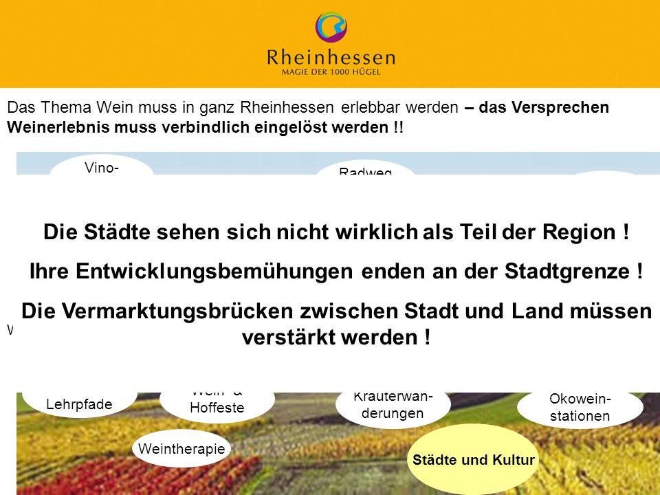 22 © 2006 PROJECT M / GfL Das Thema Wein muss in ganz Rheinhessen erlebbar werden – das Versprechen Weinerlebnis muss verbindlich eingelöst werden !!