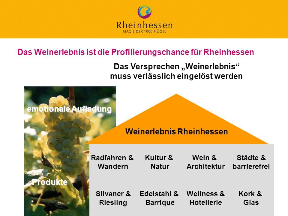 24 © 2006 PROJECT M / GfL Das Weinerlebnis ist die Profilierungschance für Rheinhessen Weinerlebnis Rheinhessen emotionale Aufladung Radfahren & Wande