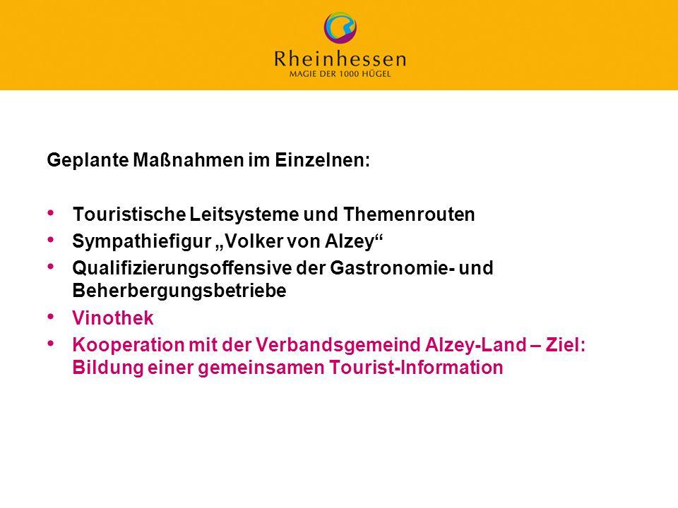 47 © 2006 PROJECT M / GfL Geplante Maßnahmen im Einzelnen: Touristische Leitsysteme und Themenrouten Sympathiefigur Volker von Alzey Qualifizierungsof