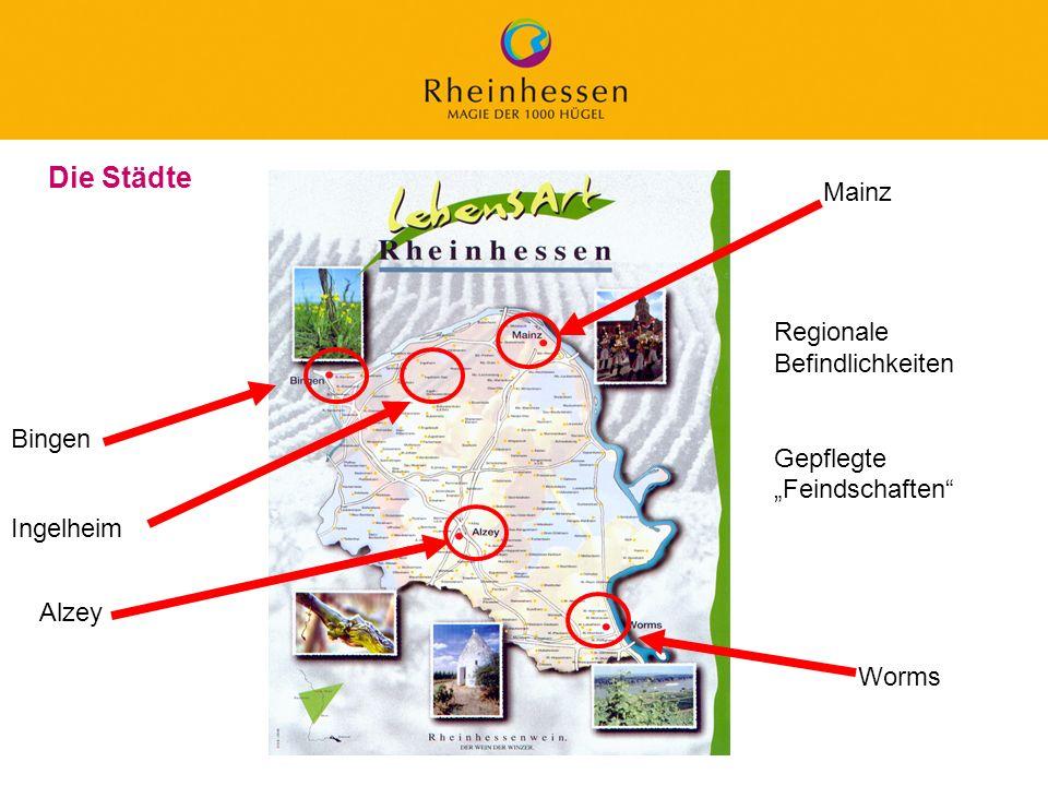 7 © 2006 PROJECT M / GfL Die Städte Bingen Alzey Mainz Worms Ingelheim Regionale Befindlichkeiten Gepflegte Feindschaften