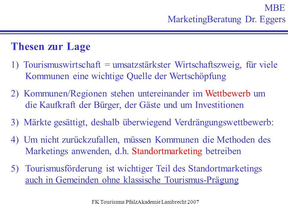 FK Tourismus PfalzAkademie Lambrecht 2007 MBE MarketingBeratung Dr. Eggers Thesen zur Lage 1) Tourismuswirtschaft = umsatzstärkster Wirtschaftszweig,