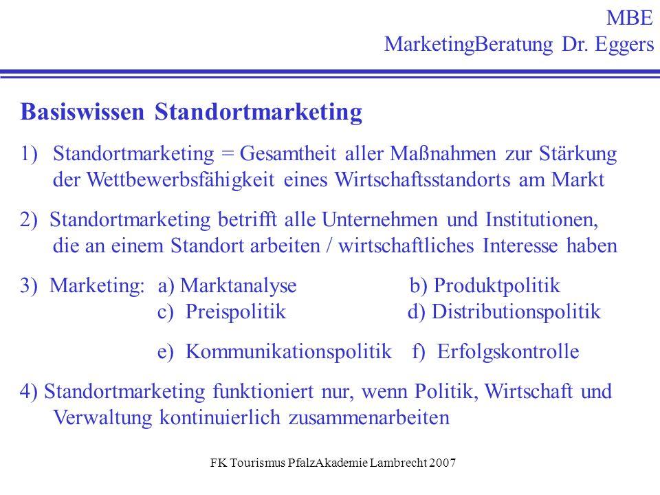 FK Tourismus PfalzAkademie Lambrecht 2007 MBE MarketingBeratung Dr. Eggers Basiswissen Standortmarketing 1)Standortmarketing = Gesamtheit aller Maßnah