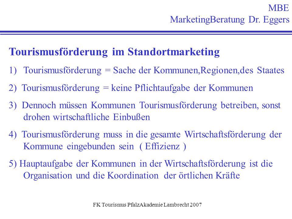 FK Tourismus PfalzAkademie Lambrecht 2007 MBE MarketingBeratung Dr. Eggers Tourismusförderung im Standortmarketing 1)Tourismusförderung = Sache der Ko
