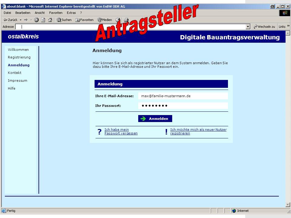 20 Screenshots ostalbkreis Anmeldung Digitale Bauantragsverwaltung Hier können Sie sich als registrierter Nutzer an dem System anmelden.