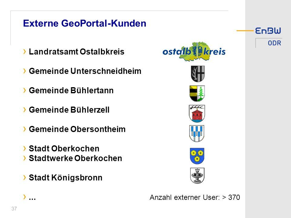 37 Externe GeoPortal-Kunden Landratsamt Ostalbkreis Gemeinde Unterschneidheim Gemeinde Bühlertann Gemeinde Bühlerzell Gemeinde Obersontheim Stadt Oberkochen Stadtwerke Oberkochen Stadt Königsbronn...