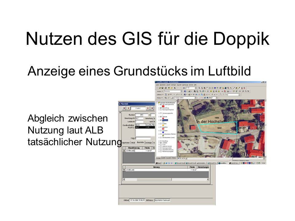 Nutzen des GIS für die Doppik Anzeige eines Grundstücks im Luftbild Abgleich zwischen Nutzung laut ALB tatsächlicher Nutzung