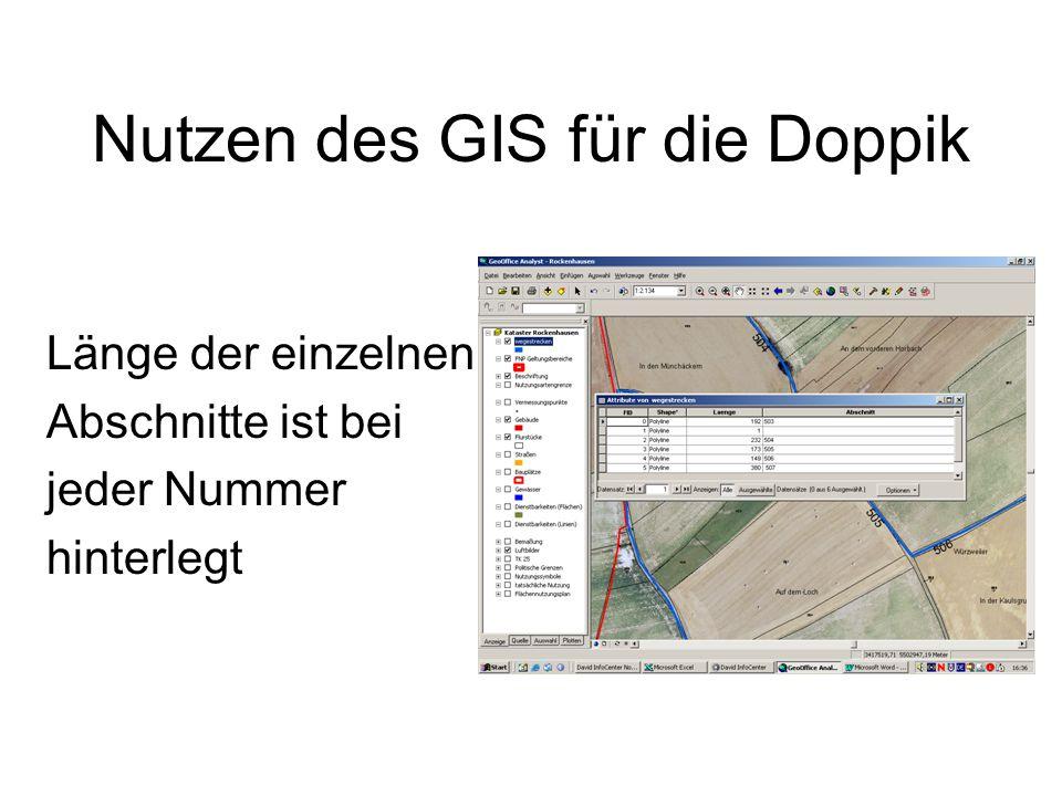 Nutzen des GIS für die Doppik Länge der einzelnen Abschnitte ist bei jeder Nummer hinterlegt