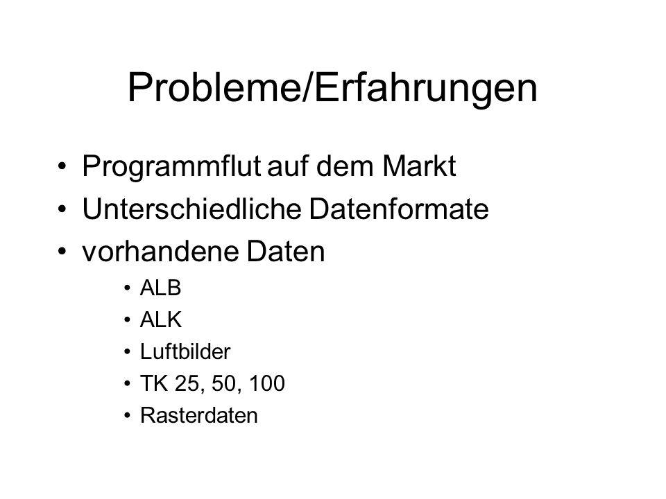 Probleme/Erfahrungen Programmflut auf dem Markt Unterschiedliche Datenformate vorhandene Daten ALB ALK Luftbilder TK 25, 50, 100 Rasterdaten
