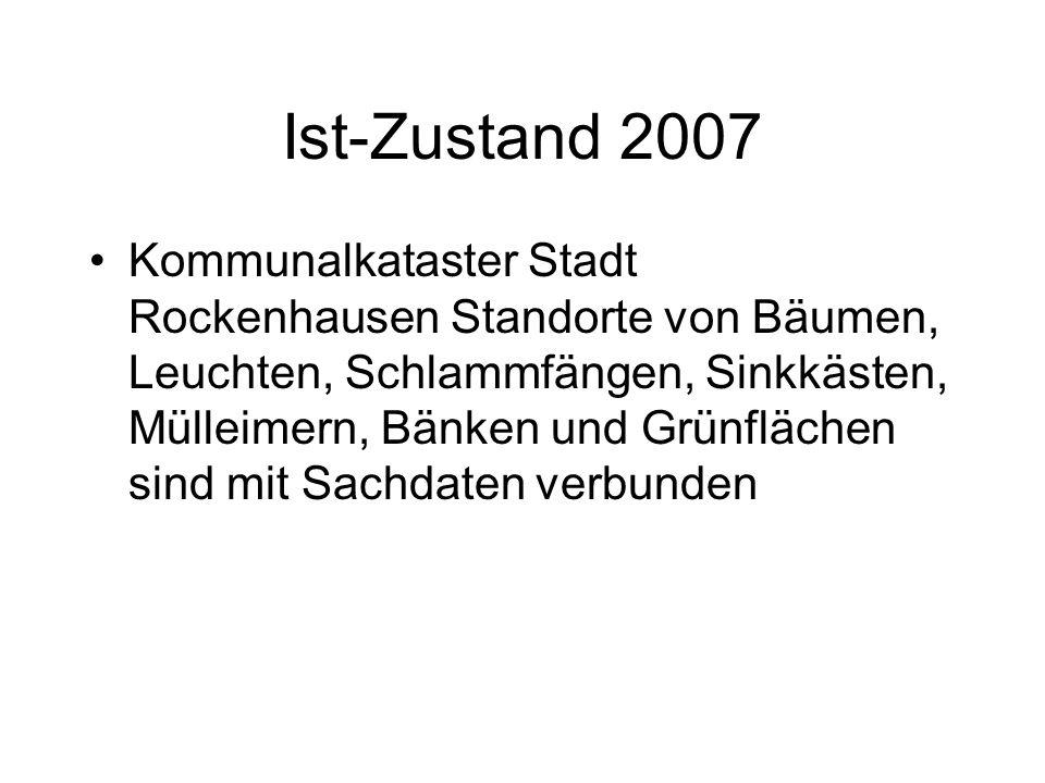 Ist-Zustand 2007 Kommunalkataster Stadt Rockenhausen Standorte von Bäumen, Leuchten, Schlammfängen, Sinkkästen, Mülleimern, Bänken und Grünflächen sin