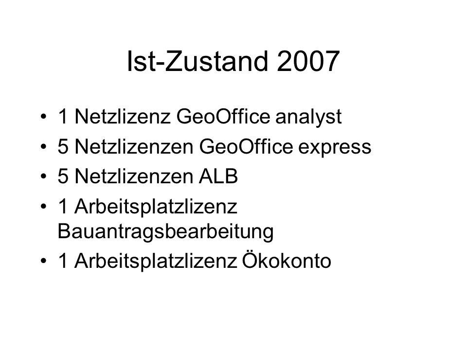Ist-Zustand 2007 1 Netzlizenz GeoOffice analyst 5 Netzlizenzen GeoOffice express 5 Netzlizenzen ALB 1 Arbeitsplatzlizenz Bauantragsbearbeitung 1 Arbei